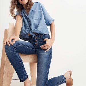 NEW Madewell 10 High Rise Button Fly Skinny Jeans